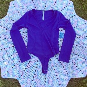 NWT free people body suit. Royal blue. Size s